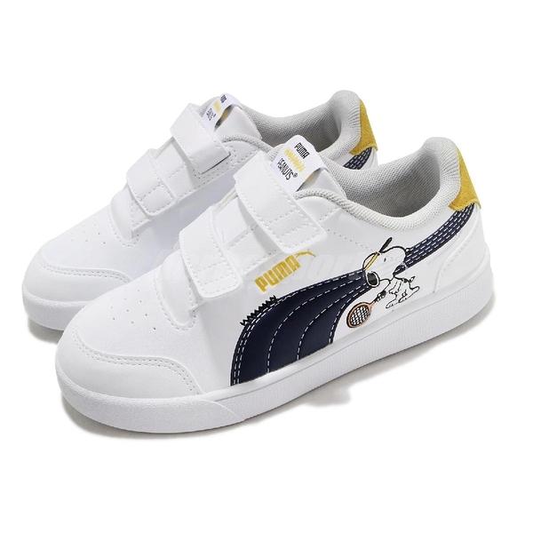 Puma 休閒鞋 PEANUTS Shuffle V PS 史努比 白 藍 童鞋 中童鞋 魔鬼氈 小朋友 【ACS】 37574001