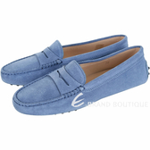 TOD'S Gommino 麂皮絨休閒豆豆鞋(女鞋/薄霧藍) 1720172-23