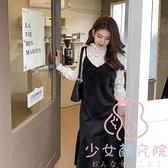 吊帶連衣裙子 大碼女裝顯瘦早春兩件套裝裙子【少女顏究院】