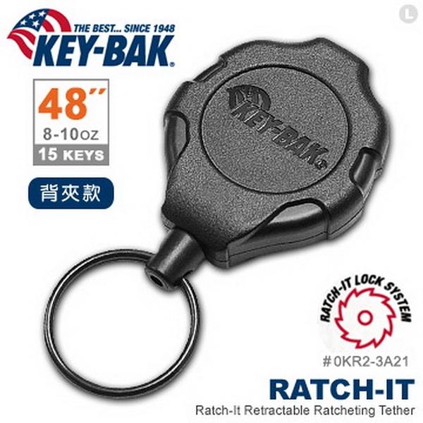 """美國KEY BAK Ratch-It 鎖定系列 48"""" 強力負重伸縮鑰匙圈(附背夾)(公司貨)#0KR2-3A21"""