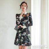 洋裝 春裝新款優雅名媛氣質印花a字裙修身顯瘦打底連身裙子6100