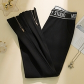 休閒長褲大尺碼M-5XL2020秋季打底褲外穿小腳長褲收腹黑色拉鏈高腰顯瘦百搭4F060-A依佳衣
