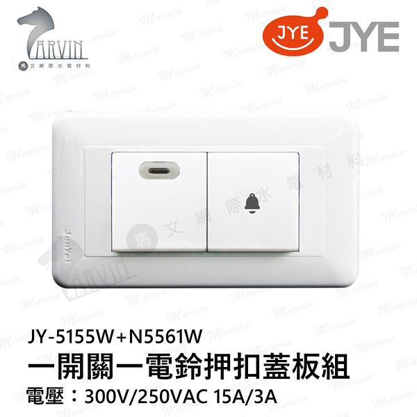 中一 熊貓系列 JY-5155W+N5561W 110/220全電壓 一開關一電鈴押扣蓋板組