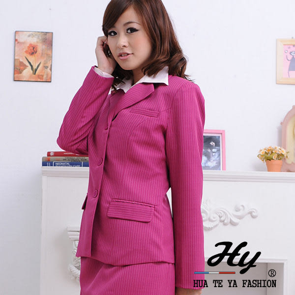 【HTY-14A-A】華特雅-亮眼活力OL女西裝外套(桃紅白條紋)