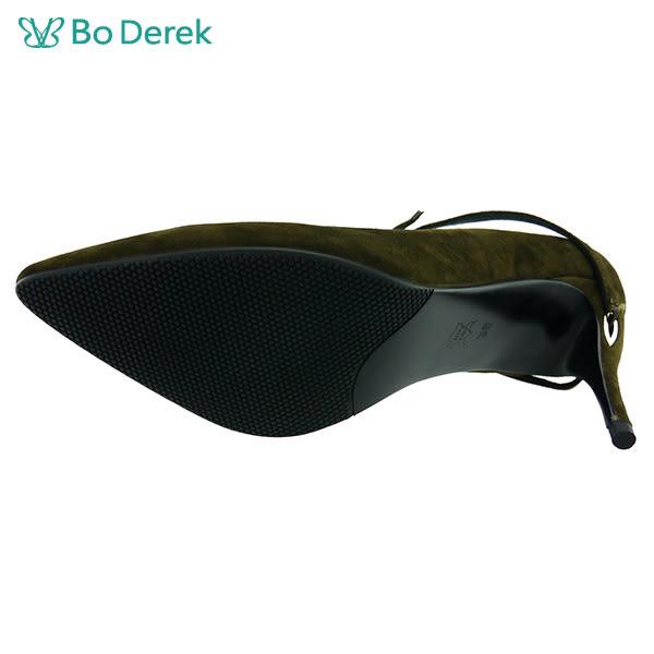 ★新品上市★【Bo Derek】氣質細綁帶尖頭高跟鞋-軍綠