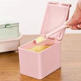 ✭米菈生活館✭【N156】小麥色系四格調味盒 附勺 廚房 粉末 鹽巴 味精 料裡 烘焙 居家 工具