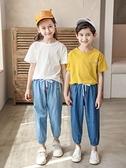男童牛仔褲 兒童防蚊褲男童夏季薄款女童寶寶燈籠褲純棉中大童夏裝牛仔長褲子 歐歐