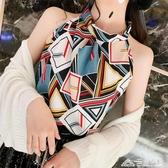 韓版夏季掛脖露肩性感俏皮菱形撞色雪紡背吊帶女寬鬆時尚外窗上衣 三角衣櫃
