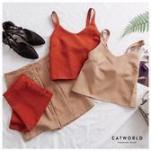 Catworld 正韓空運*素面背心加排釦短裙兩件組【16600257】‧F