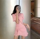 短袖洋裝 輕熟風短袖洋裝夏氣質2020收腰顯瘦chic溫柔小個子polo領仙女裙 朵拉朵YC