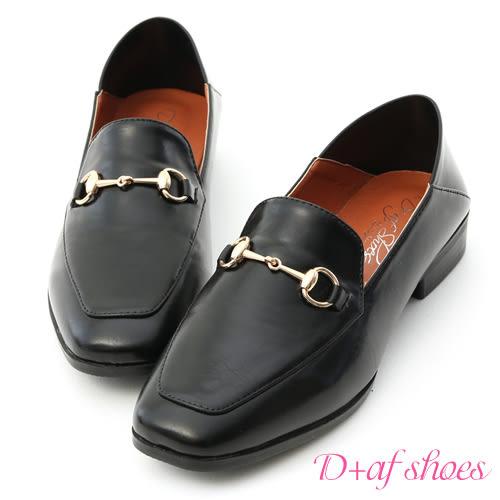 D+AF 紳士嚴選.馬銜釦可後踩平底樂福鞋*黑