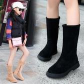 童鞋女童靴子長靴寶寶公主靴新款秋冬季加絨兒童二棉中筒皮靴 依夏嚴選