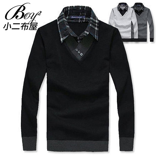 針織衫韓式假二件長袖T恤【NZ76702】