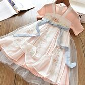 女童洋裝 童裝中國風夏改良漢服女童仙氣雪紡襦裙兒童女寶寶古風連身裙-Ballet朵朵