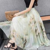 半截長裙夏雪紡中長款女士A字演出大擺裙顯瘦復古印花系帶紗裙女 依凡卡時尚