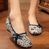 老北京布鞋坡跟小碎花民族風繡花鞋舞蹈休閒布鞋內增高媽媽女單鞋