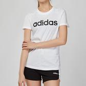 Adidas Essentials 女款 白色 舒適 柔軟 棉質 LOGO 短袖 上衣 DU0629