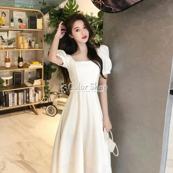 法式方領泡泡袖禦姐風洋裝2010新款夏季長款高腰氣質顯瘦裙子女 快速出貨