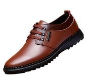 男士系帶棕色韓版棉青年真皮圓頭休閒皮鞋男鞋冬季加絨保暖潮鞋子