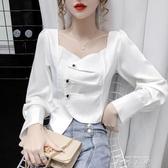 2020年秋季新款設計感小眾短款泡泡袖長袖不規則襯衣方領上衣女裝