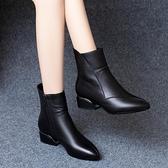 粗跟鞋 真皮短靴女粗跟2021秋冬新款百搭春秋單靴中跟尖頭皮鞋英倫馬丁靴 韓國時尚週