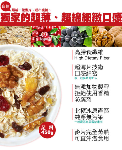 青荷【米森】有機核桃蔓越莓麥片450g/盒