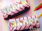 角落生物筆袋 創意文具簡約小清新角落生物巴士造型帆布筆袋卡通汽車筆盒【可可鞋櫃】