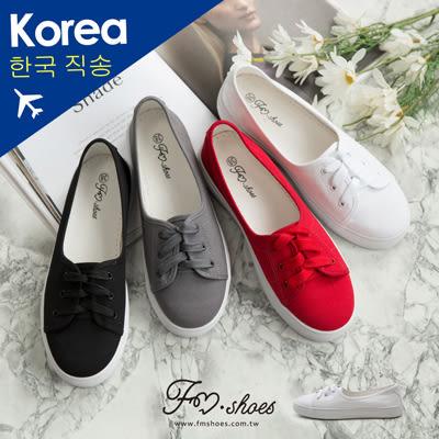 休閒鞋.淺口繫帶帆布小白鞋(白、紅)-FM時尚美鞋-韓國精選.spirit