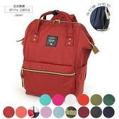 後背包-日本品牌包Anello 新版後拉鍊大開口後背包(M)-紅色-玄衣美舖
