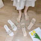 拖鞋女外穿季新款韓版一字拖平底珍珠水鑽透明學生沙灘涼拖