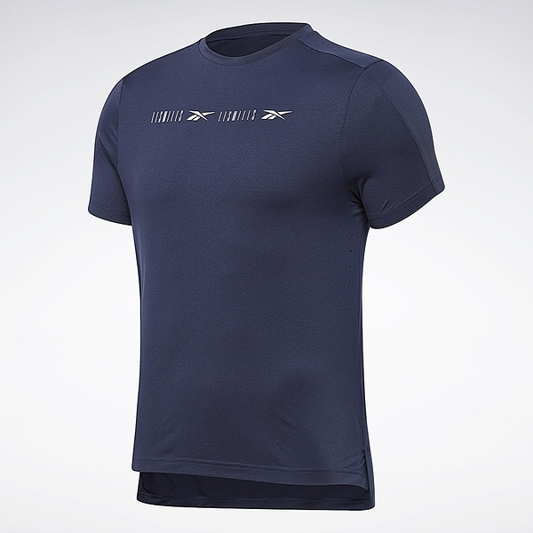 REEBOK 短T 短袖 LES MILLS® PERFORATED 藍 反光 排汗 訓練 男 (布魯克林) GE1026
