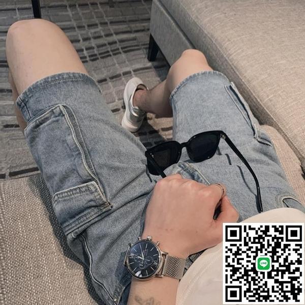 牛仔短褲男士ins休閒潮流五分褲2020年夏季薄款精神小伙褲子 海闊天空