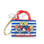 〔小禮堂〕Sanrio大集合 票夾零錢包《藍白條紋.多角色》Sanrio70年代人物系列 4573133-61538