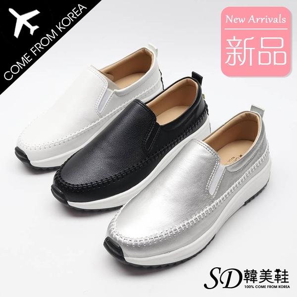 韓國空運 正韓製 後跟星星造型 嚴選質感皮革 厚底懶人鞋【F713208】版型偏小 / SD韓美鞋