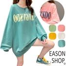 EASON SHOP(GW7650)實拍OVERSIZE撞色字母印花長版落肩寬鬆長袖素色棉T恤裙連身裙女上衣服大尺碼內搭