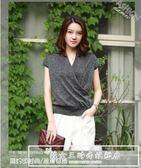 閃閃亮絲短袖t恤女 2018新款韓版v領氣質成熟上衣夏 冰絲針織衫女『韓女王』
