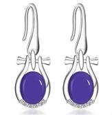 新款銀 紫玉耳飾