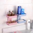 肥皂架 免打孔肥皂盒衛生間瀝水創意壁掛香皂架浴室置物架吸盤雙層肥皂架【快速出貨八折下殺】
