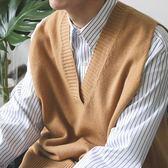 背心 秋裝寬鬆上衣韓版青少年落肩袖V領針織衫男無袖毛衣學生背心        非凡小鋪
