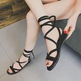 2018新款波西米亞羅馬綁帶涼鞋女夏平底羅馬沙灘鞋學生綁帶涼靴子 七夕節禮物