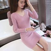 針織洋裝   針織衫修身顯瘦中長款套頭毛衣打底衫長袖連身裙
