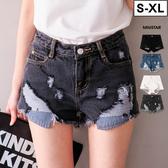 現貨-MIUSTAR 韓國復古抽鬚刷破直紋口袋牛仔短褲(共4色,S-XL)【NE1269EW】