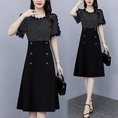 洋裝短袖裙子中大尺碼L-5XL時尚波點中長款拼接連身裙R030-2633.皇潮天下