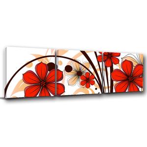 24mama掛畫-三聯式 紅色 花卉 插畫風無框畫-50x50cm
