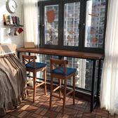實木吧台桌家用客廳隔斷靠牆吧桌簡約現代高腳桌復古星巴克餐桌椅 100*40*105『極有家』igo