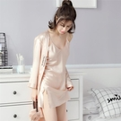 春蔻春秋季睡衣女長袖夏季冰絲綢性感吊帶睡裙睡袍兩件套裝家居服【快速出貨】