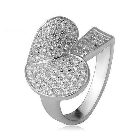 月光銀鑽石葉子戒指