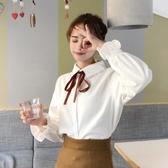 喇叭袖上衣 襯衫女裝設計感小眾20秋季新款韓版學院風蝴蝶結洋氣女士上衣 中秋節
