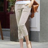新款春夏薄款女七分褲修身顯瘦鬆緊彈力九分褲純棉大碼休閒高腰褲   LannaS