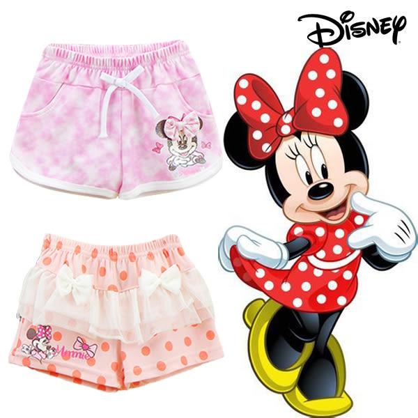 迪士尼 disney 臺灣製 米妮minnie 女童 短褲 褲子 熱褲 米妮橘點 米妮假收繩
